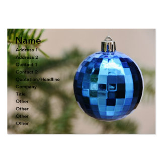 Blue christmas tree ornament business cards