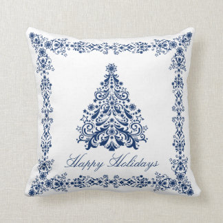 Blue Christmas Tree Your Background and Text Cushions