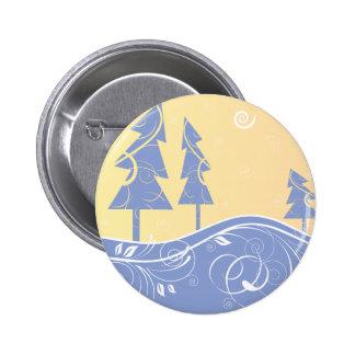 blue Christmas Trees 6 Cm Round Badge