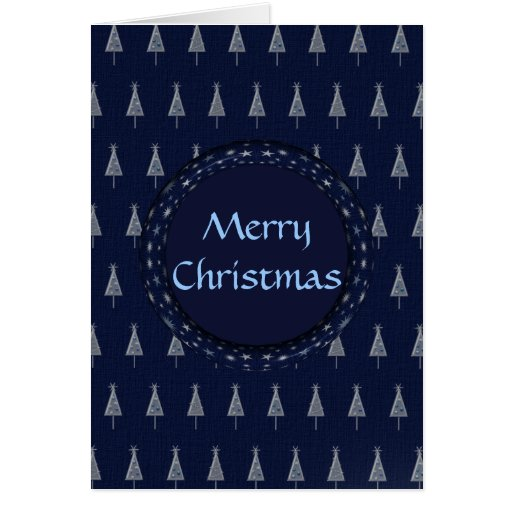 Blue Christmas Trees and Stars Greeting Cards