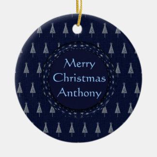 Blue Christmas Trees and Stars Round Ceramic Decoration