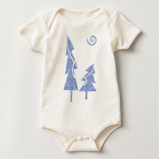blue Christmas Trees Baby Bodysuit