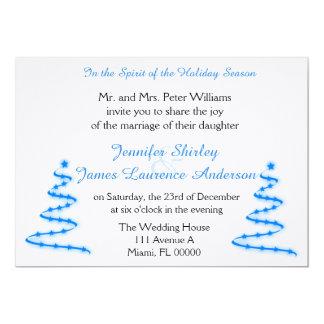 Blue Christmas Trees Christmas Wedding Invitation