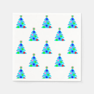 Blue Christmas Trees Holiday Party Paper Napkins