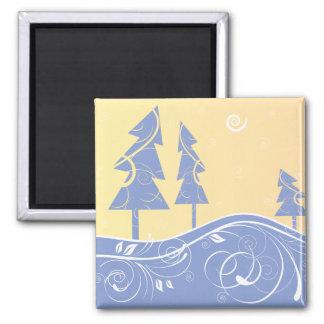 blue Christmas Trees Magnet