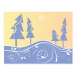 blue Christmas Trees Postcard