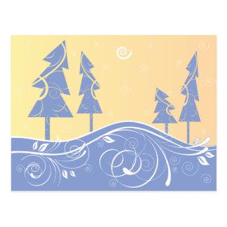 blue Christmas Trees Post Card