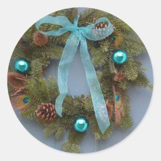 Blue Christmas Wreath Sticker