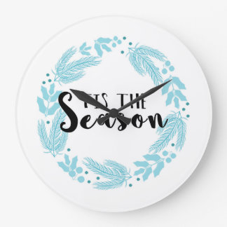 Blue Christmas Wreath Tis the Season Clock
