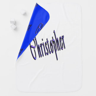 Blue Christopher Name Logo, Baby Blanket