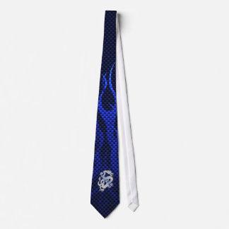Blue Chrome like Dragon Carbon Fiber Style Tie
