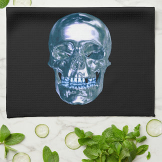 Blue Chrome Skull Kitchen Towel