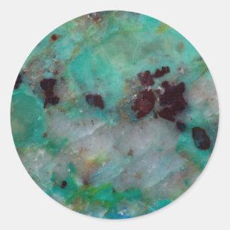 Blue Chrysocolla Jasper Classic Round Sticker
