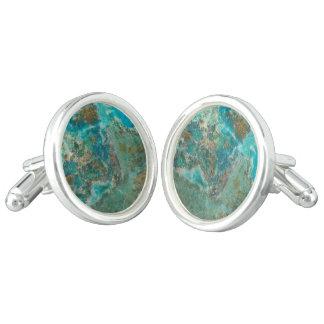 Blue Chrysocolla Stone Image Cufflinks