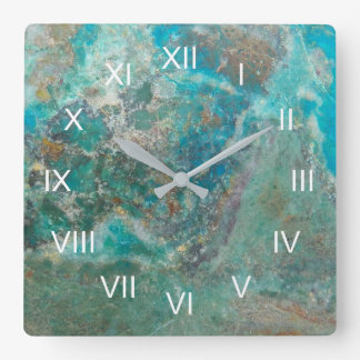 Blue Chrysocolla Stone Image Square Wall Clock