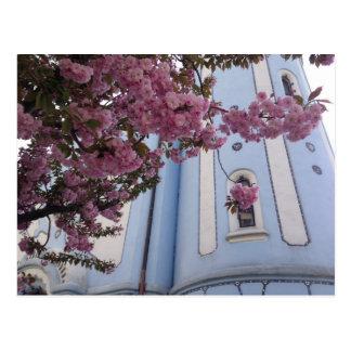 Blue Church + Blossom Postcard