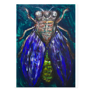 Blue Cicada (Surreal Realism insect painting) Postcard