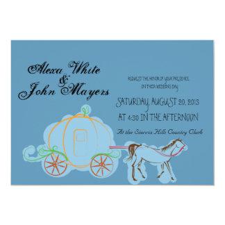 Blue cinderella wedding invitation