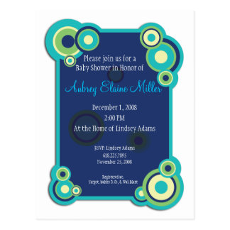 Blue Circle Baby Shower Invitation Postcard