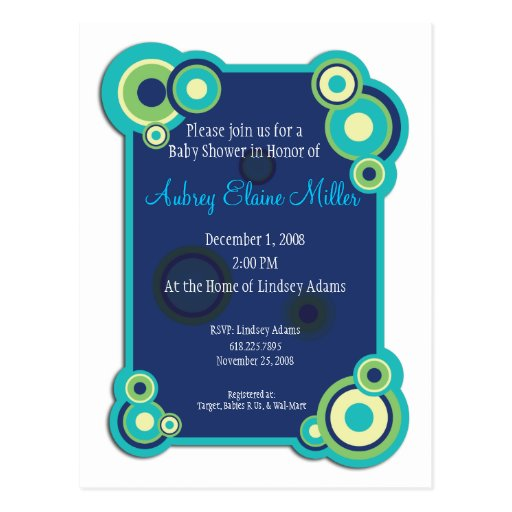 Blue Circle Baby Shower Invitation Postcard