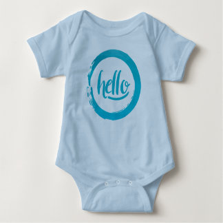 Blue Circle Brush stroke  Hello baby Baby Bodysuit