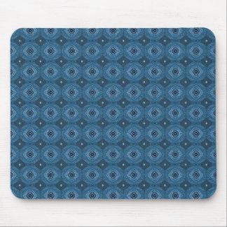 Blue Circle Diamond Grid Pattern Mouse Pad