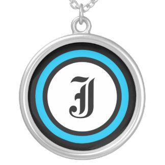Blue Circle Initial Pendant
