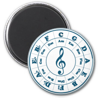 Blue Circle of Fifths 6 Cm Round Magnet