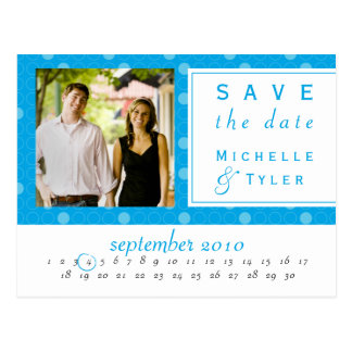 Blue Circle Save the Date Card Postcards