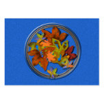 Blue Circled Fall Leaves Business Cards