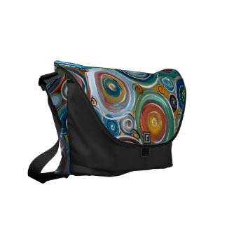 Blue Circles Abstract Art Courier Bag