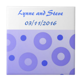Blue Circles and Dots Save the Date Small Square Tile
