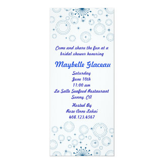 Blue Circles Bridal Shower 10 Cm X 24 Cm Invitation Card