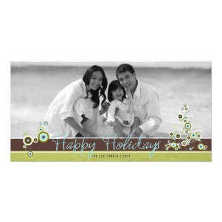 Blue Circles Christmas Tree Holiday Photo Card