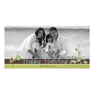 Blue Circles Christmas Tree Holiday Photo Card