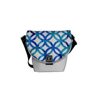 Blue Circles Pattern Custom Mini Messenger Bag