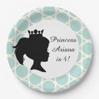 Blue Circles Princess Custom Birthday Paper Plates 9 Inch Paper Plate