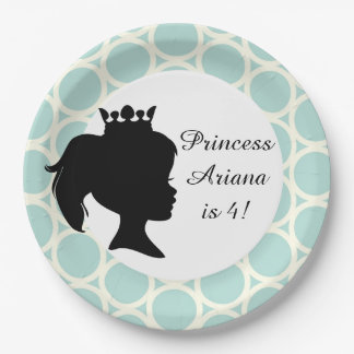 Blue Circles Princess Custom Birthday Paper Plates 9 Inch Paper Plate