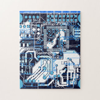 Blue Circuit Board Puzzle