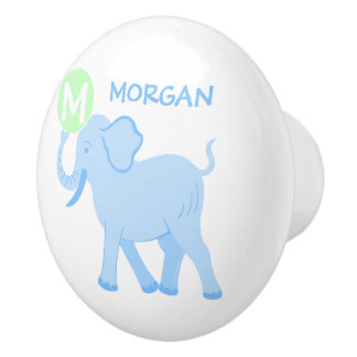 Blue Circus | Baby Boy Nursery Elephant Ball Fun Ceramic Knob