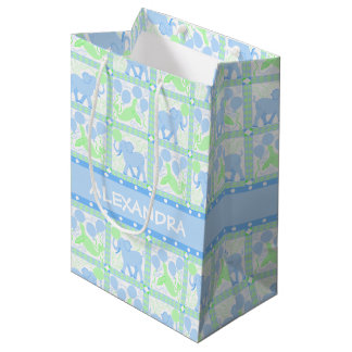 Blue Circus | Baby Shower Boy Colorful Pattern Medium Gift Bag