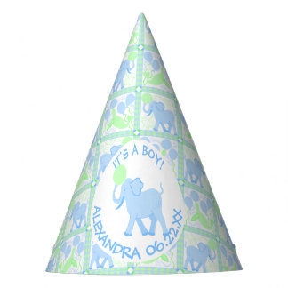 Blue Circus | Baby Shower Boy Elephant Pattern Party Hat