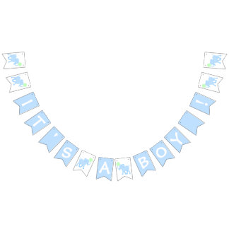 Blue Circus | Baby Shower Elephant Its A Boy Bunting