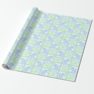 Blue Circus   Baby Shower Pattern Personalized Wrapping Paper