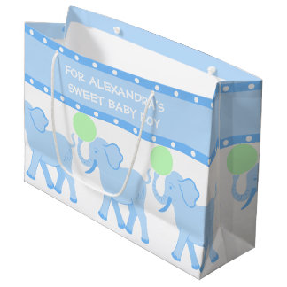 Blue Circus | Baby Shower Sweet Baby Boy Cute Large Gift Bag