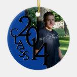 Blue Class 2014 Graduation Photo Round Ceramic Decoration