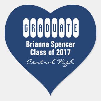 Blue Class of 2017 Heart Graduation Envelope Seal Heart Sticker