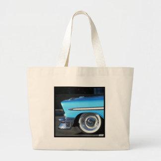 Blue Classic Car button Tote Bags