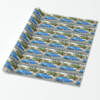Blue classic car wrapping paper