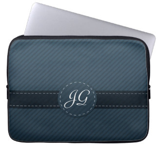 Blue Classic Stripe Monogram Laptop Sleeve